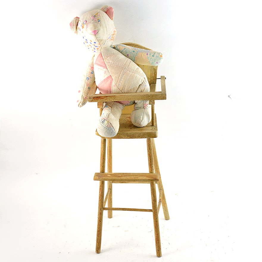 Vintage Doll High Chair with Quilt Teddy Bear ... - Vintage Doll High Chair With Quilt Teddy Bear : EBTH
