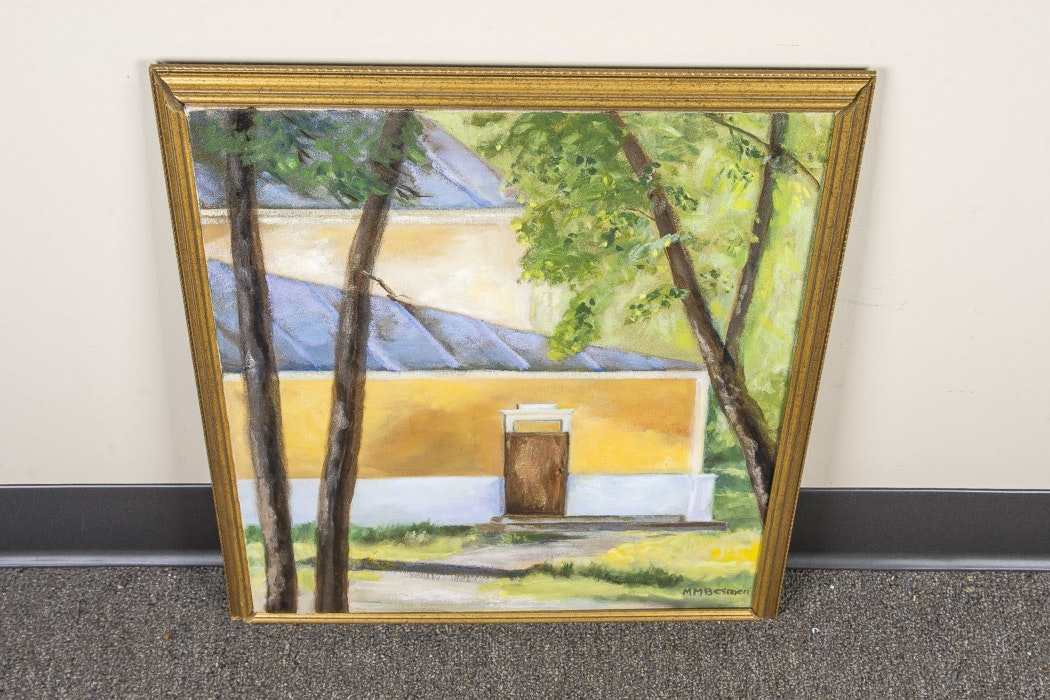 M.M. Besman Signed Original Oil Painting of a House