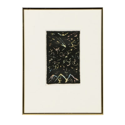 "David M. Kirdy Limited Edition Etching with Watercolor on Paper ""Night Sky"""