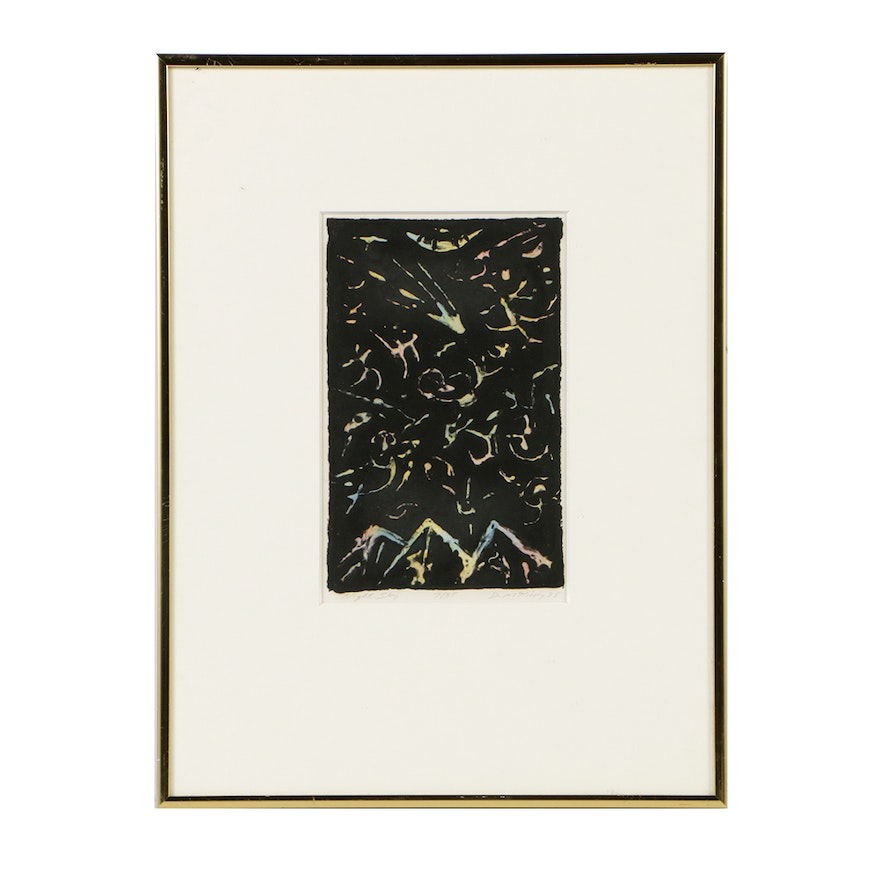 """David M. Kirdy Limited Edition Etching with Watercolor on Paper """"Night Sky"""""""