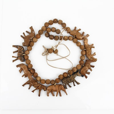 Carved Wood Animal Necklace