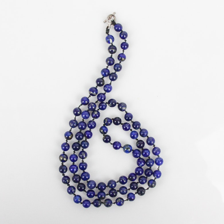 Lapis Lazuli Beaded Necklace with Sterling Closure