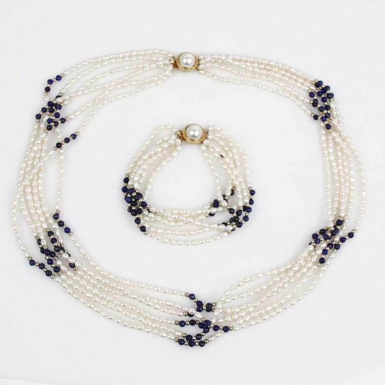 Multi-Strand Lapis Lazuli and Freshwater Pearl Demi Parure