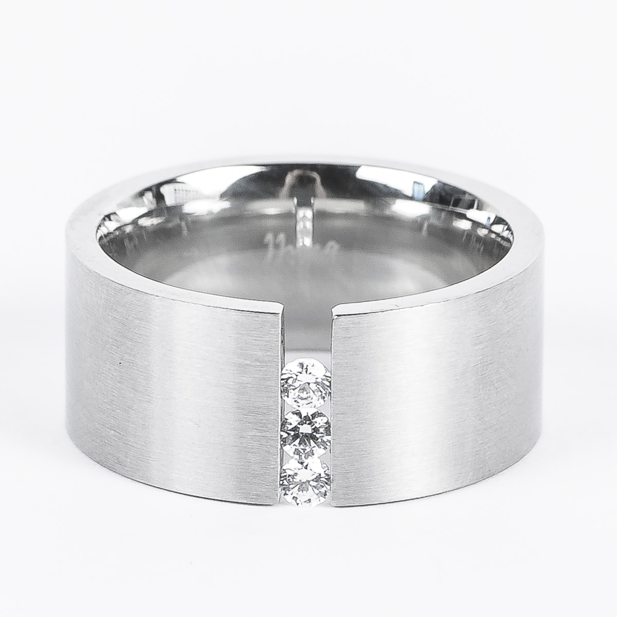 B.Tiff Matted Stainless Steel and Signity Star Moving Stones Ring