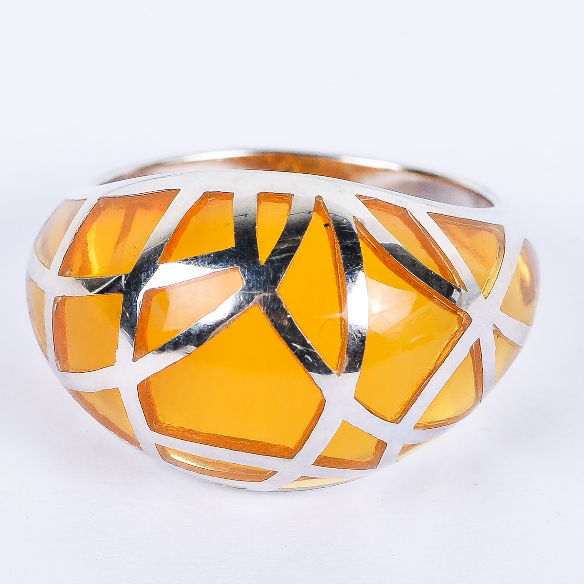 Sean Hill Sterling Silver and Amber Resin Dome Ring