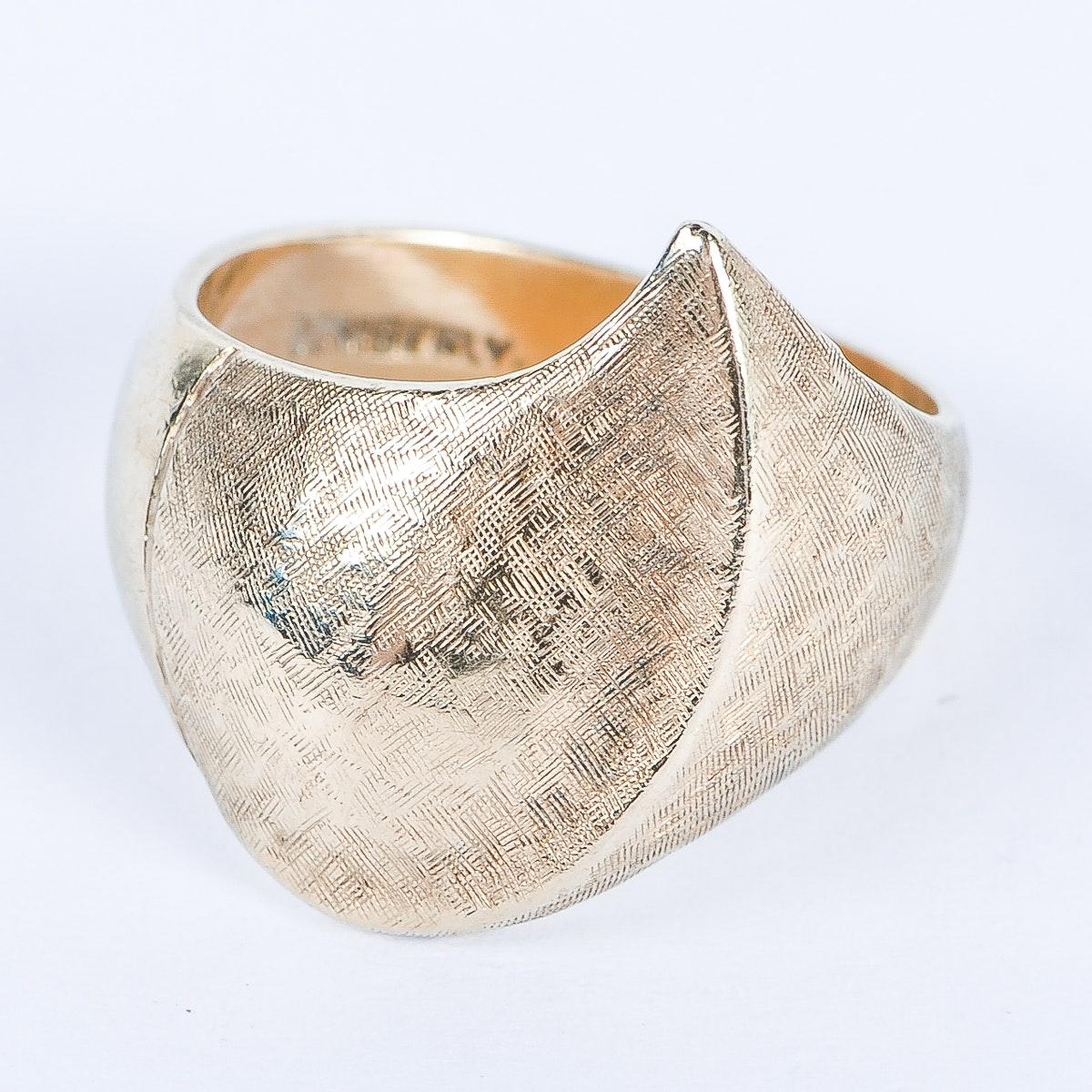 14K Etched Gold Freeform Ring