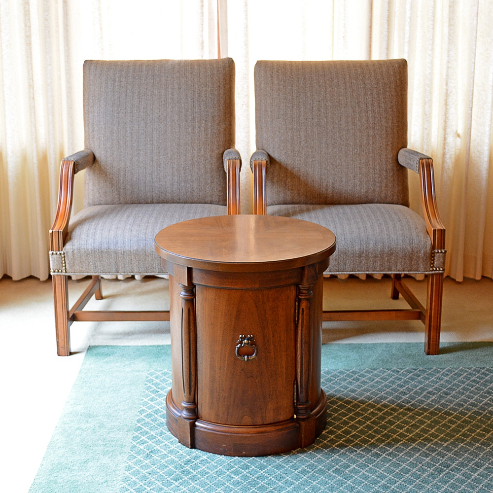 Vintage Armchairs And Thomasville Barrel Side Table ...