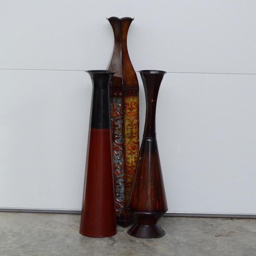 Grouping Of Decorative Metal Floor Vases Ebth