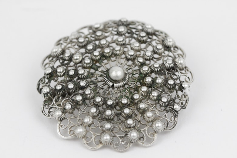 800 Silver Filigree Brooch