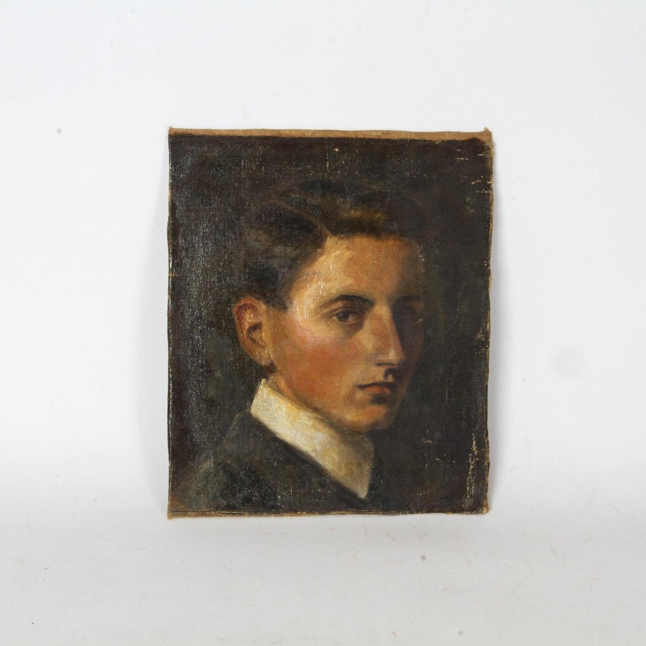 Antique Oil Portrait Painting