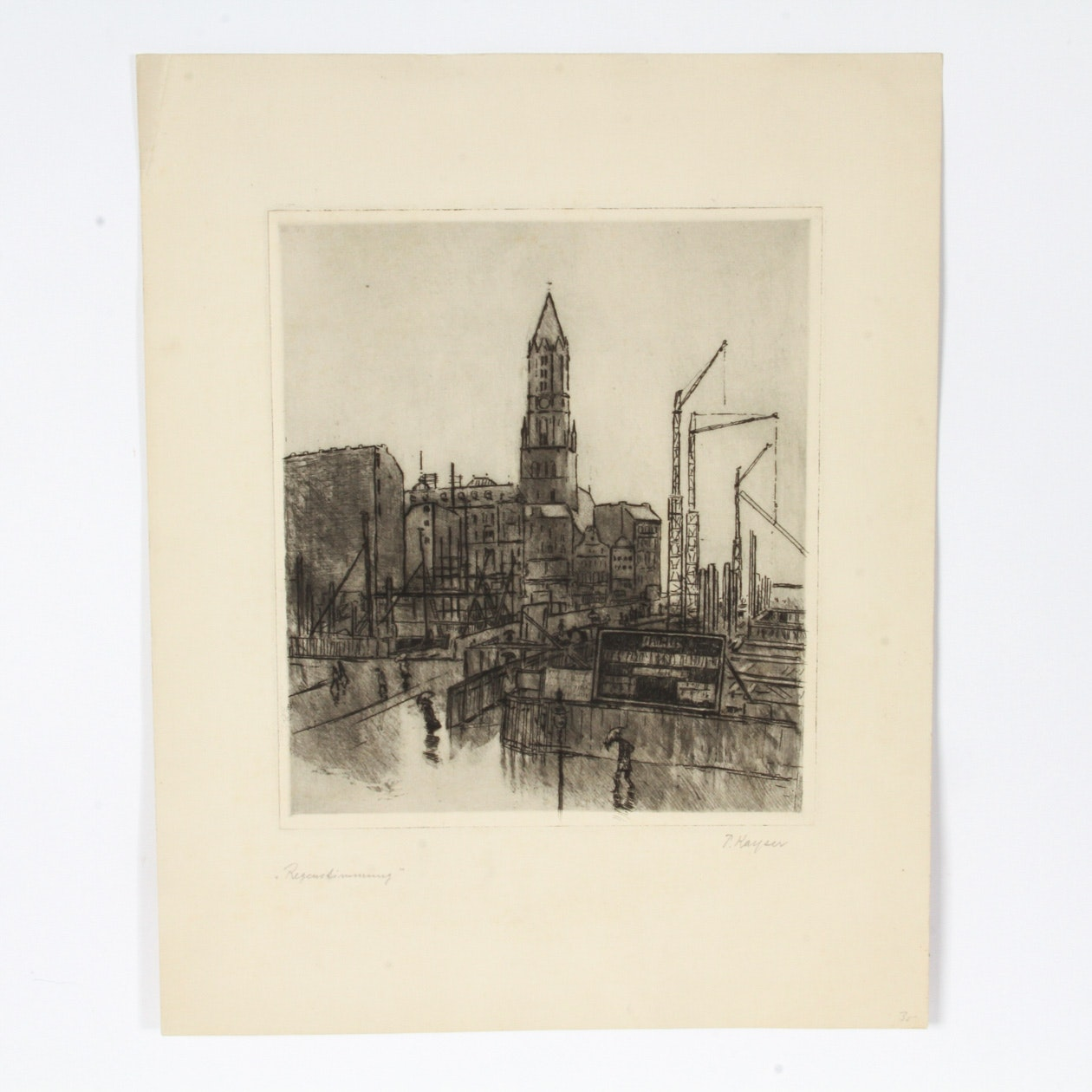 Paul Kayser Signed Lithograph on Paper