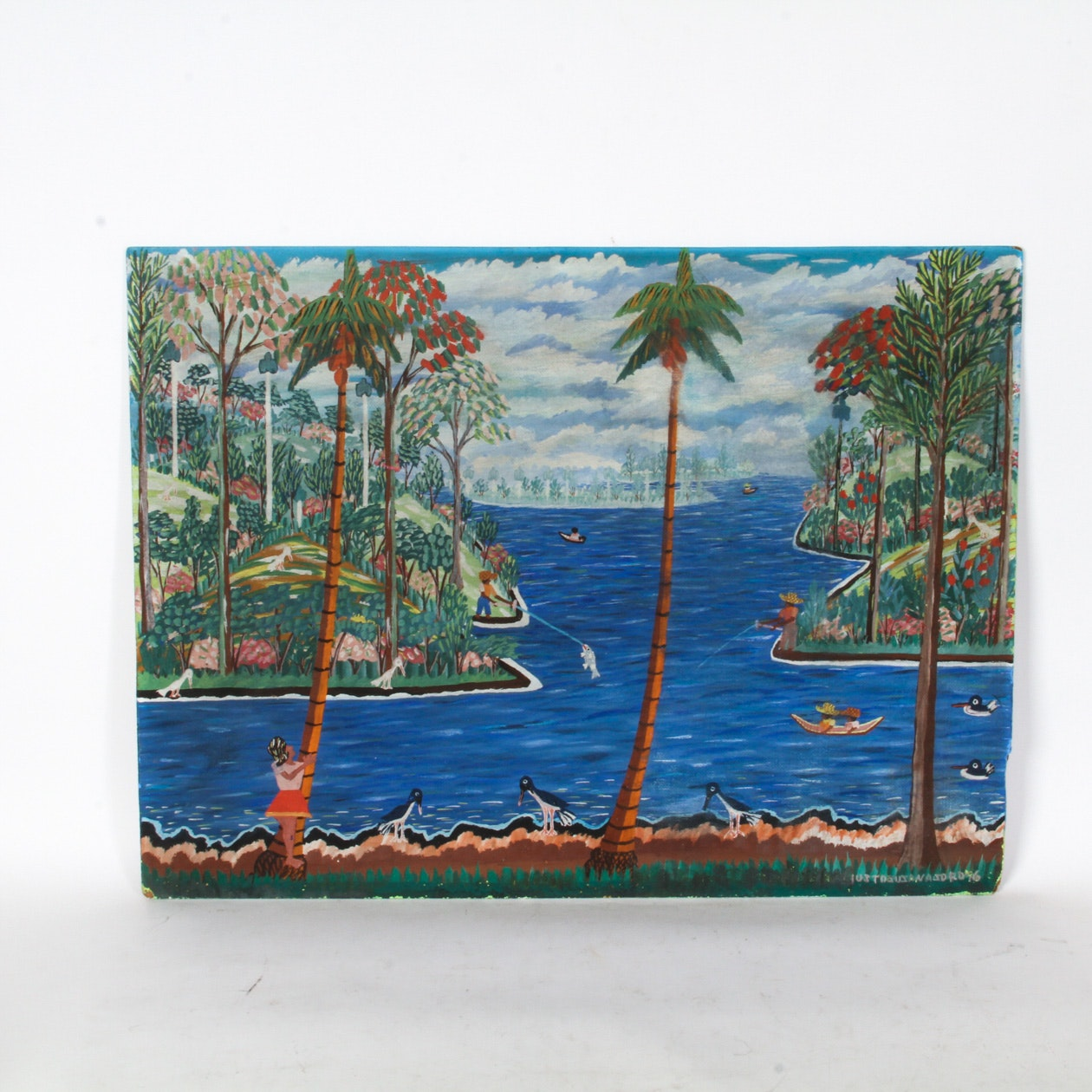 Justo Susana Signed Oil Painting of Haiti on Board
