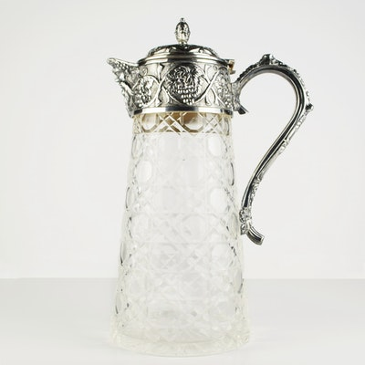 Fabulous Crystal Pitcher with Grapevine Motif in Silver Plate