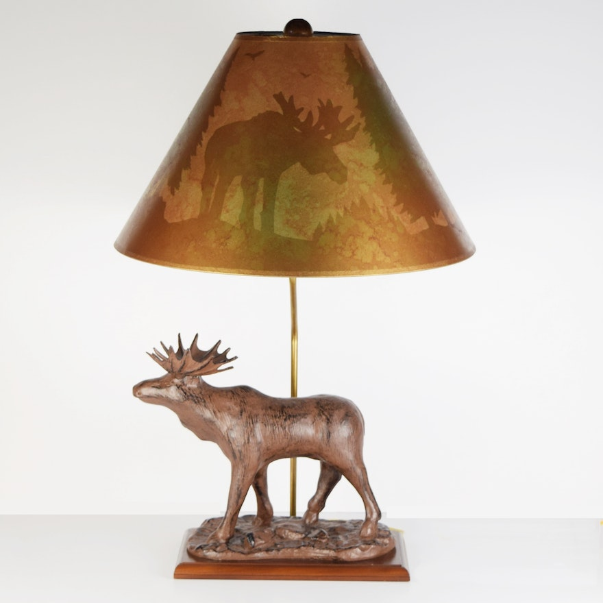 Moose table lamp with silhouette shade ebth moose table lamp with silhouette shade aloadofball Choice Image