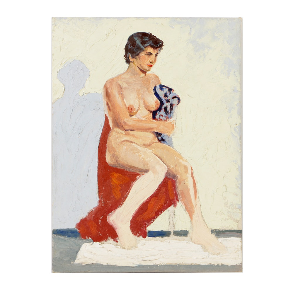 Oil Painting on Board Seated Female Nude