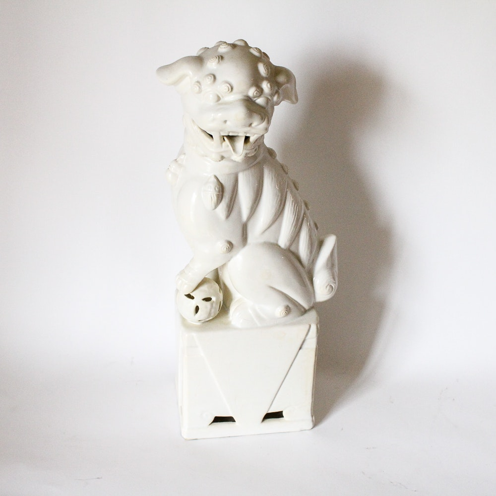 Ceramic Asian Inspired Guardian Lion Figurine