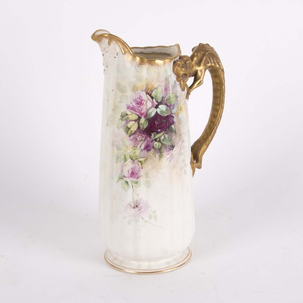 Antique Belleek Willets Pitcher with Dragon Handle