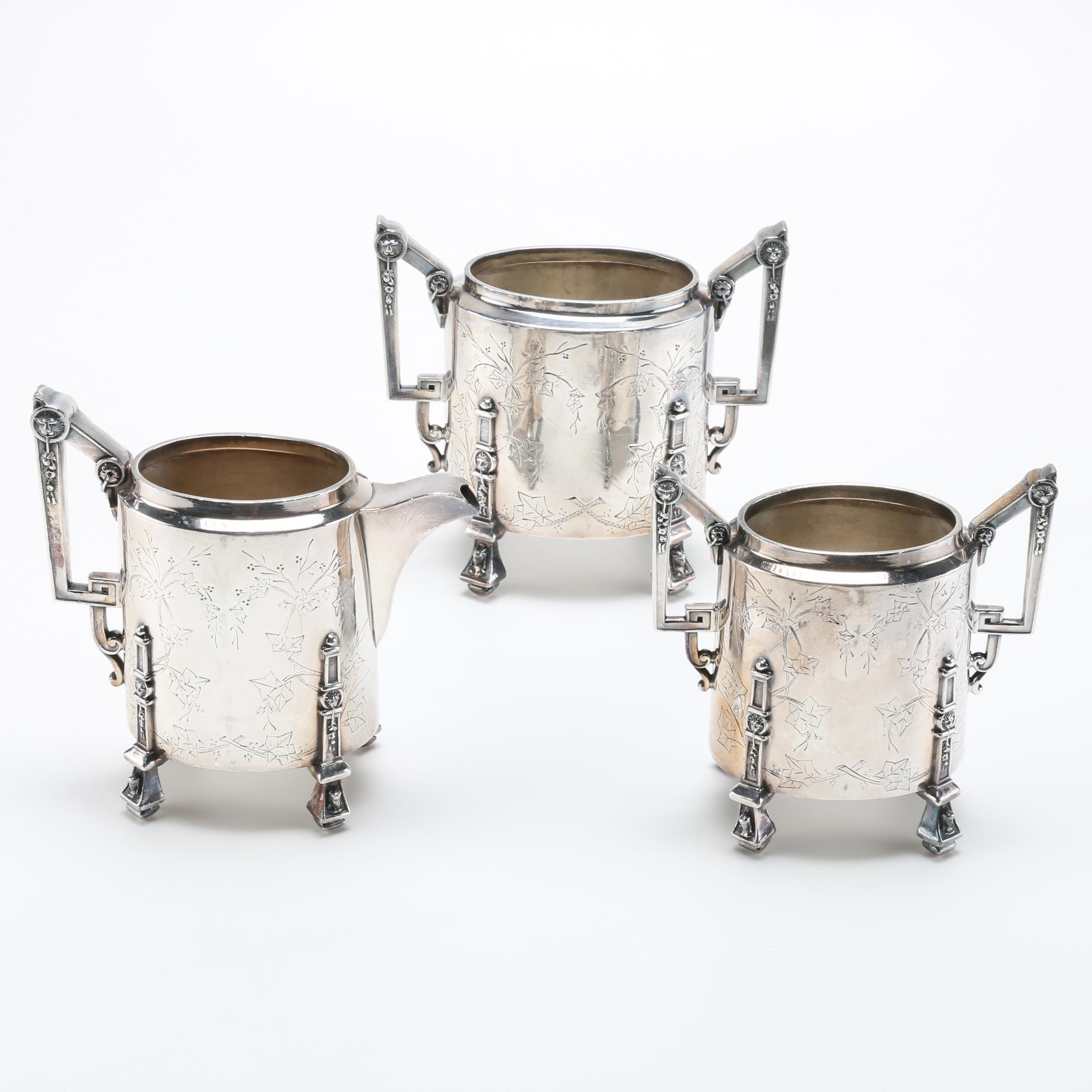 Antique Reed & Barton Silver Plate Creamer and Sugar Bowls