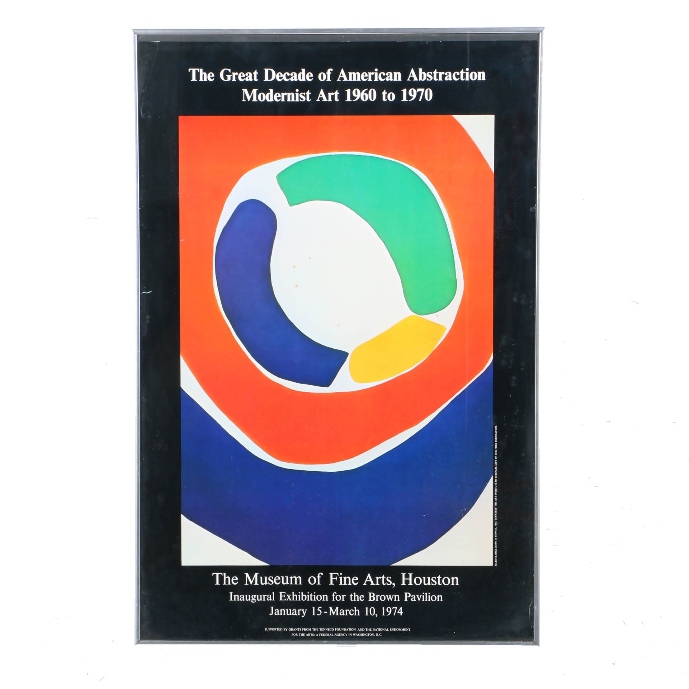 """1970s Museum of Fine Arts Houston Exhibition Poster Featuring """"Born in Snovsk"""" After Jules Olitski"""