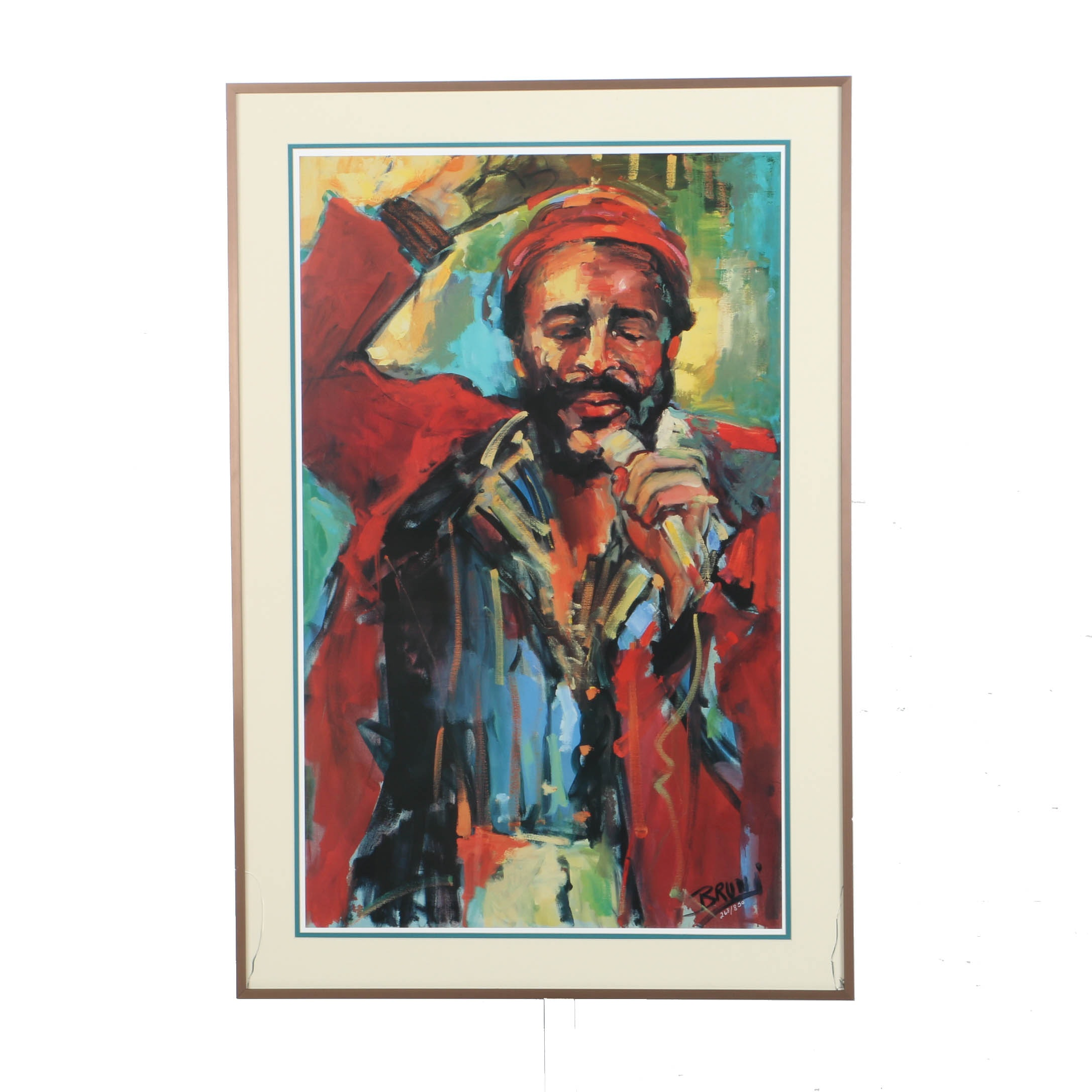 Bruni Limited Edition Offset Lithograph of Marvin Gaye