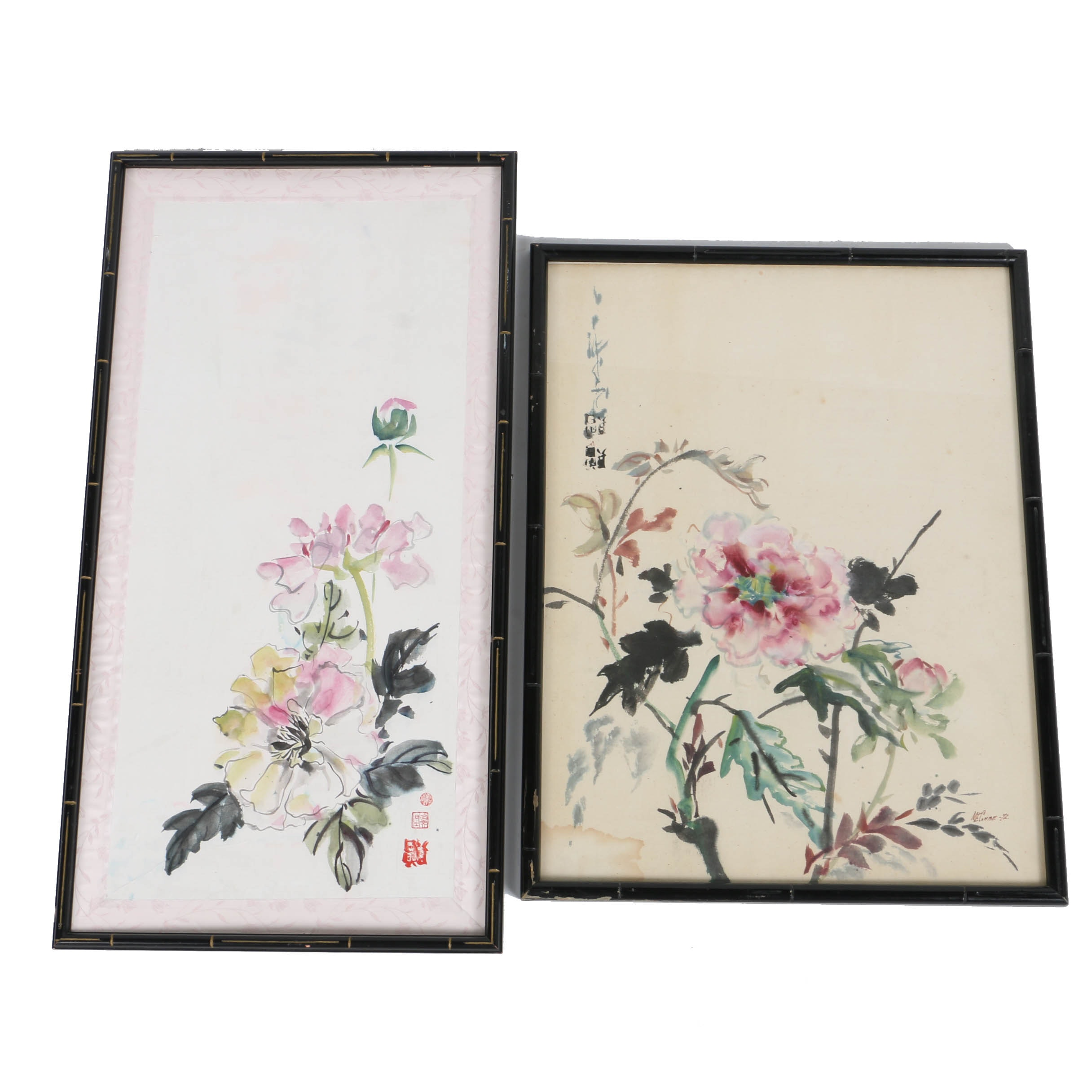 Asian-Inspired Floral Watercolors