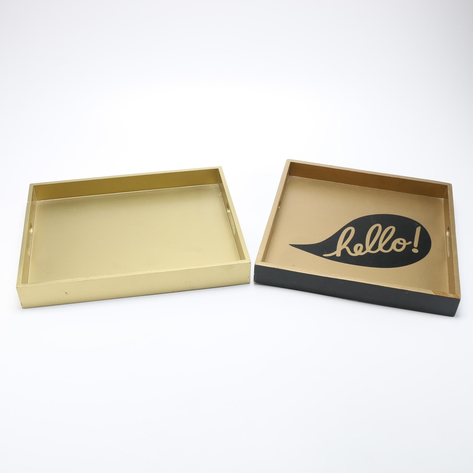 Contemporary Gold Tone Handled Trays