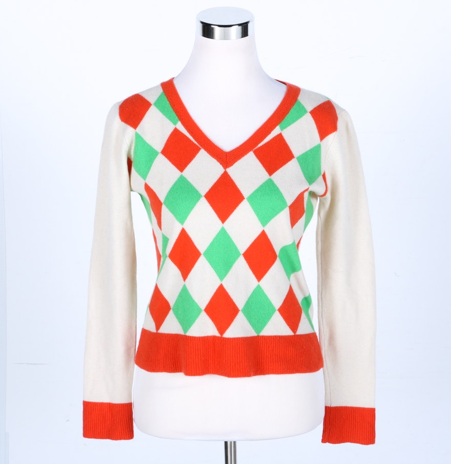 Milly Cashmere Argyle Sweater : EBTH