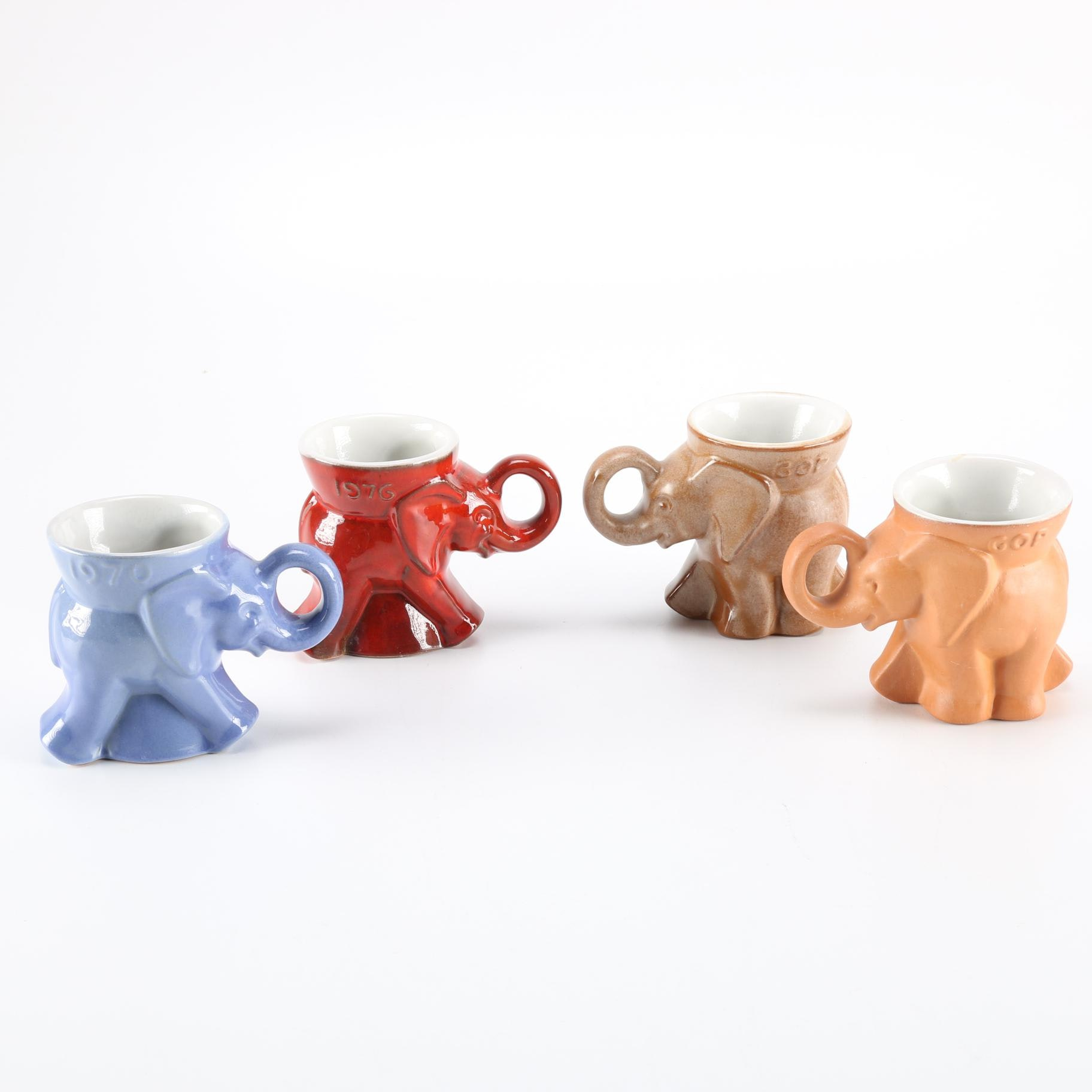 Four Frankoma GOP Elephant Mugs