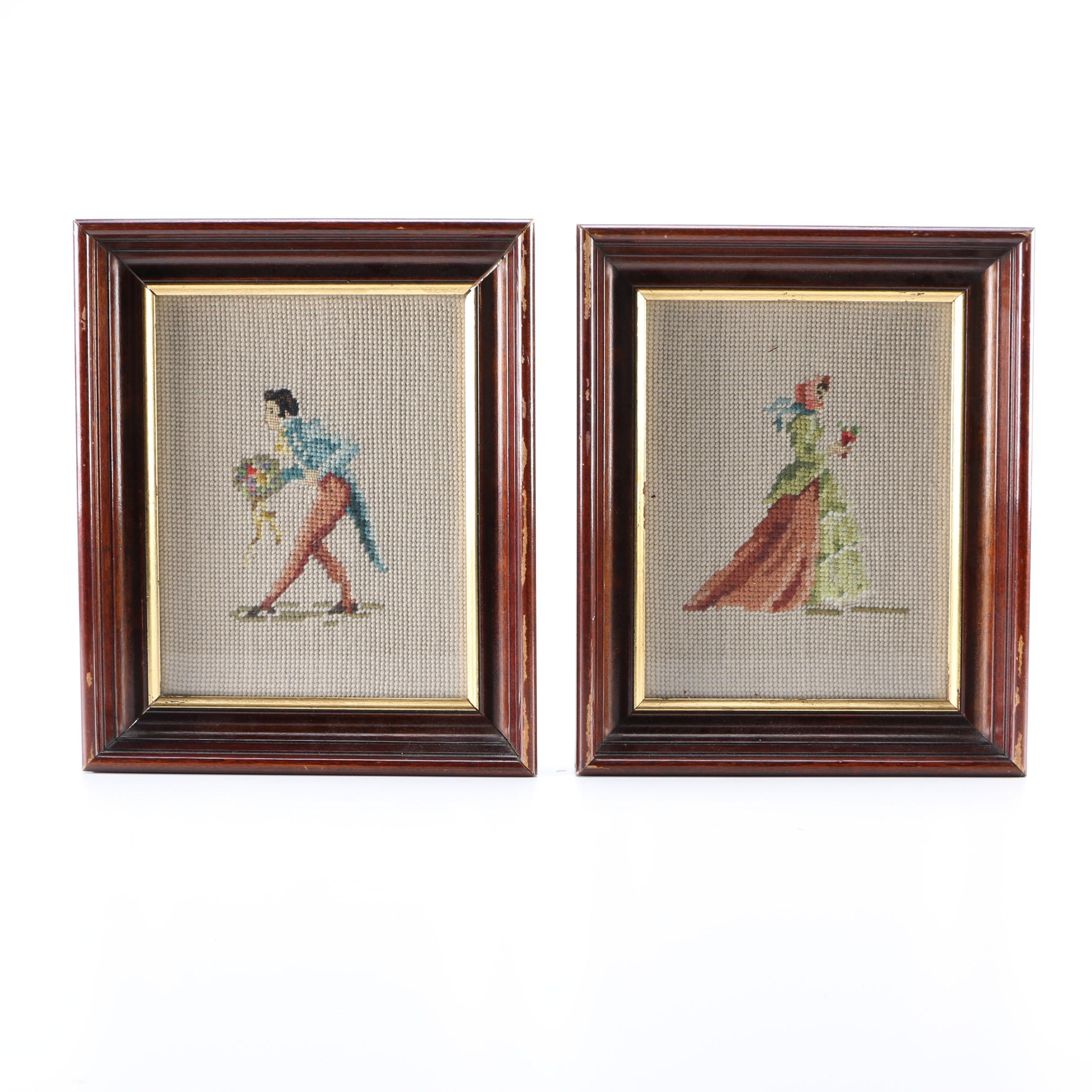 Pair of Hand-Sewn Framed Needlepoints
