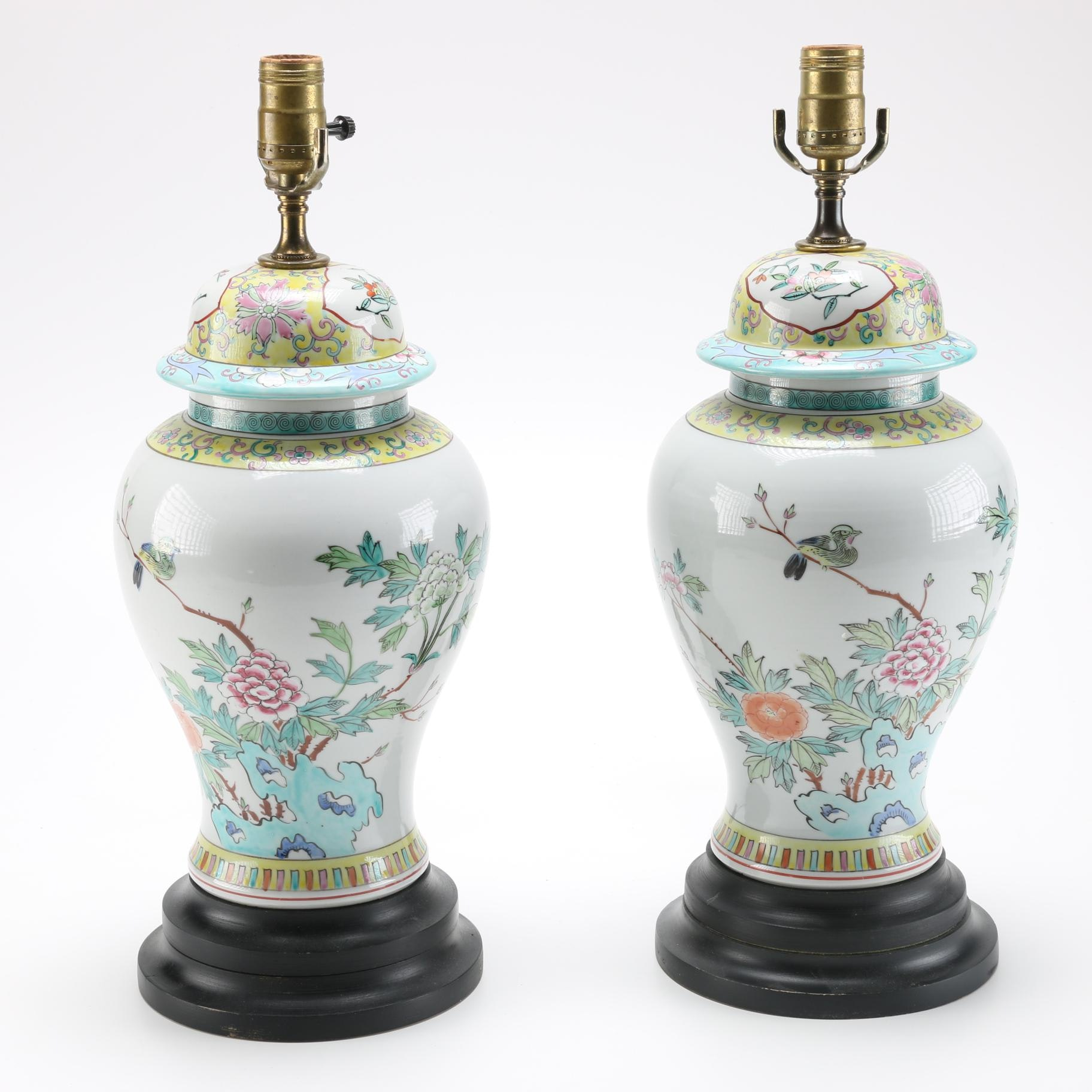 Chinese Ceramic Urn Table Lamps