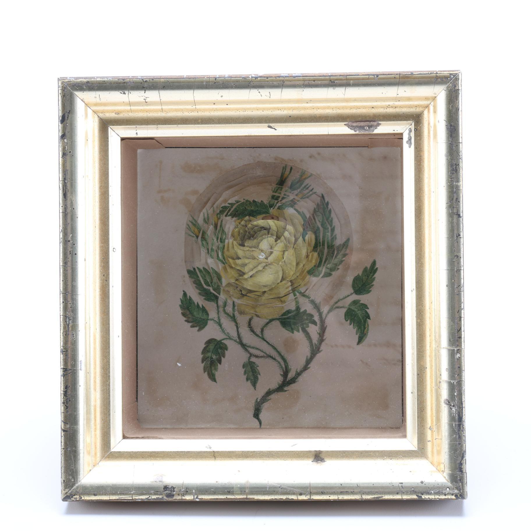 """Victorian """"Spiderweb"""" Paper Flower Valentine in a Shadowbox Frame"""