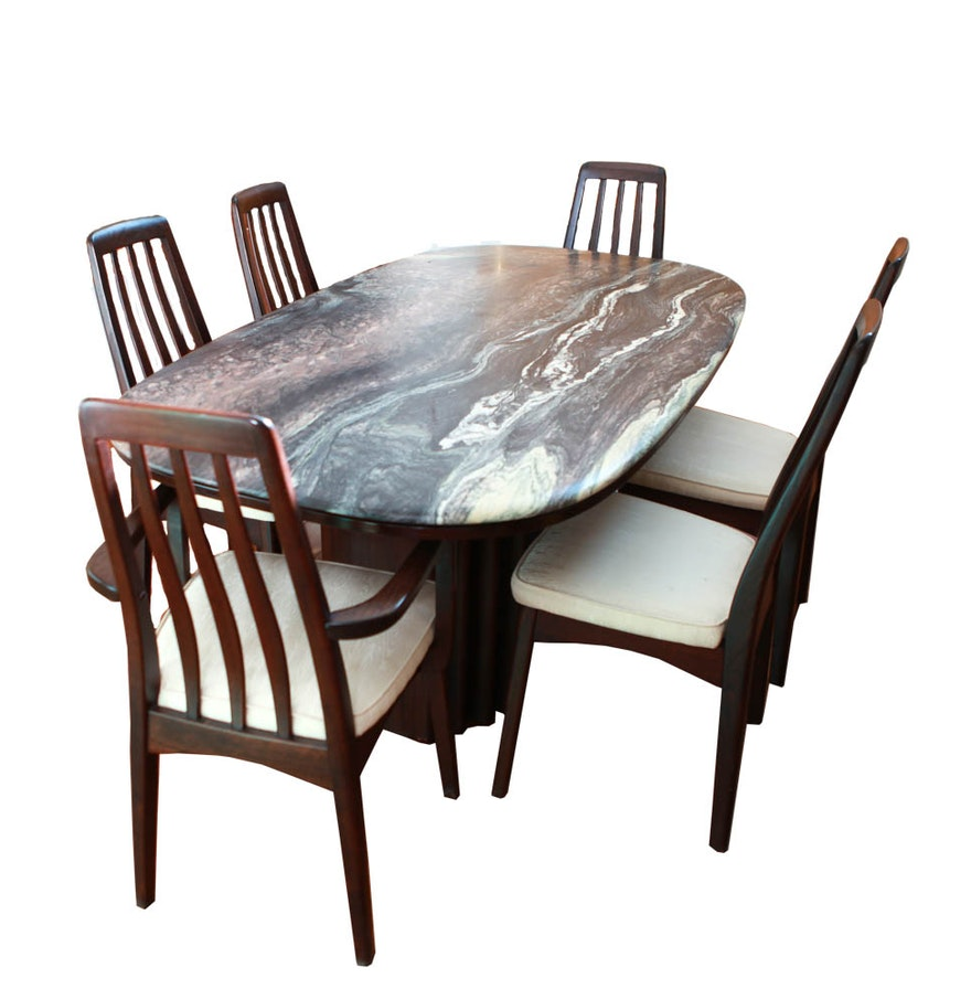 Stone Top Kitchen Table Contemporary Rosewood And Stone Top Dining Set Ebth