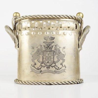 Metal Wine Cooler with Heraldic Engraving and Metal Rope Trim
