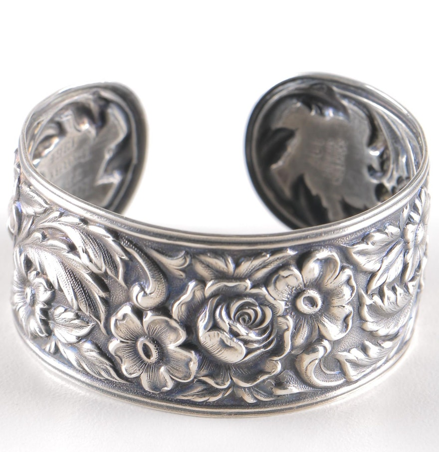 s kirk son engraved sterling silver repouss cuff. Black Bedroom Furniture Sets. Home Design Ideas