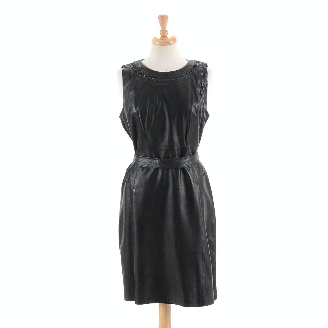 Elie Tahari Black Leather Dress