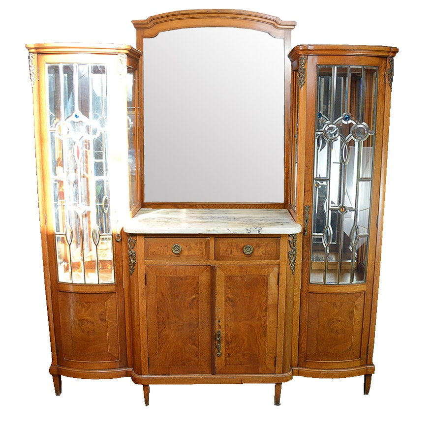 Antique Louis XVI Style Double China Cabinet Buffet ... - Antique Louis XVI Style Double China Cabinet Buffet : EBTH