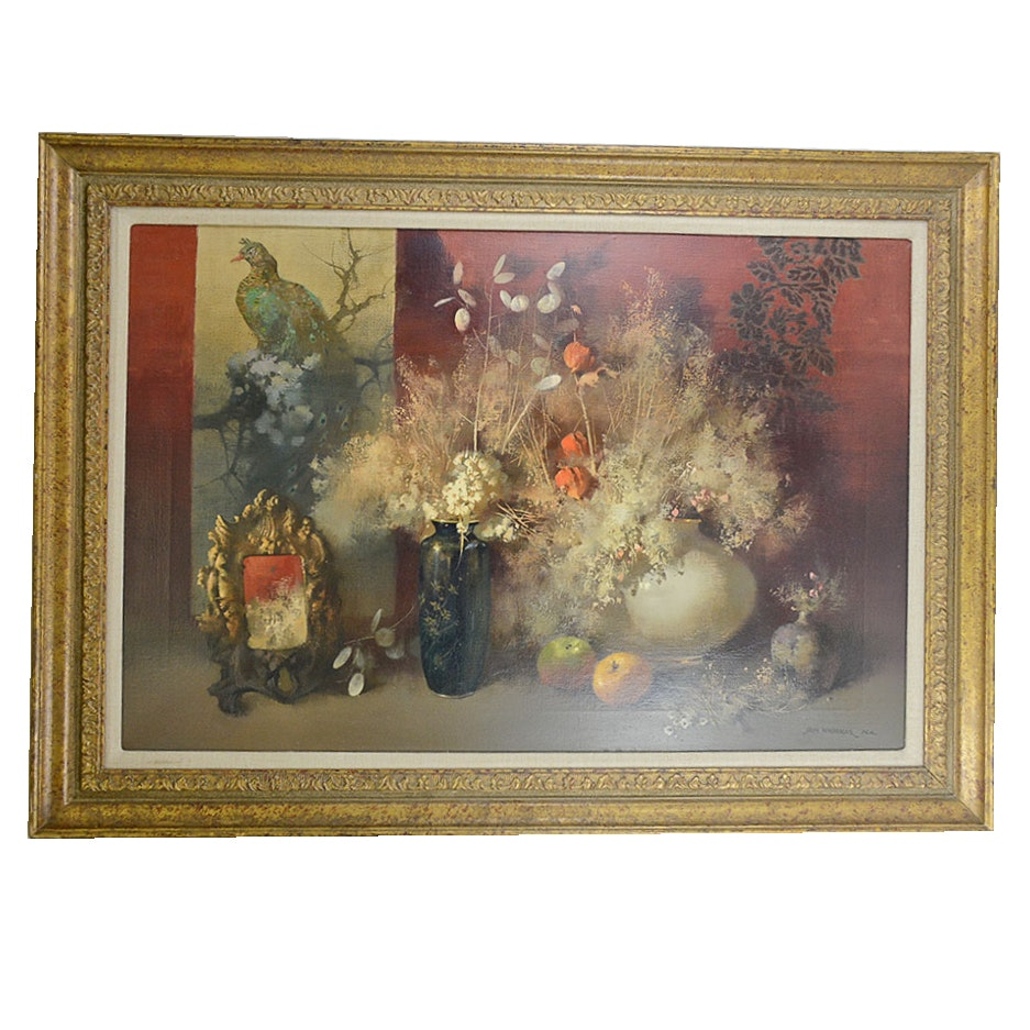 """Tom Nicholas Oil Painting """"Cloisonne and Oriental Scroll"""""""