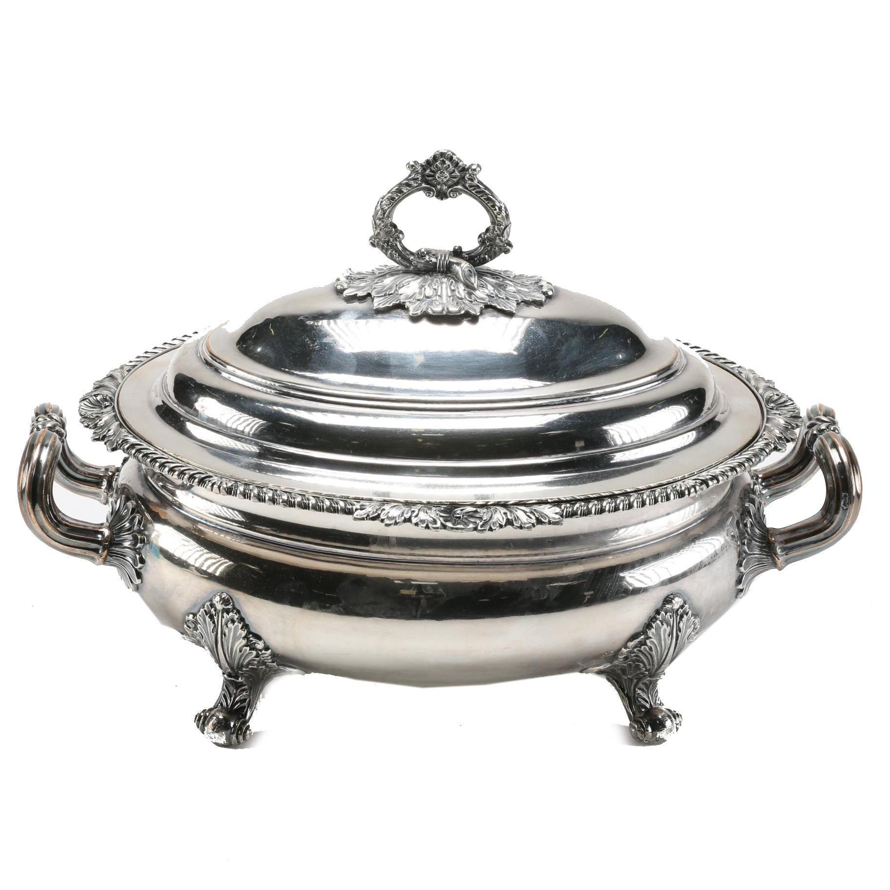 Antique Regency Style Silver Plated Tureen