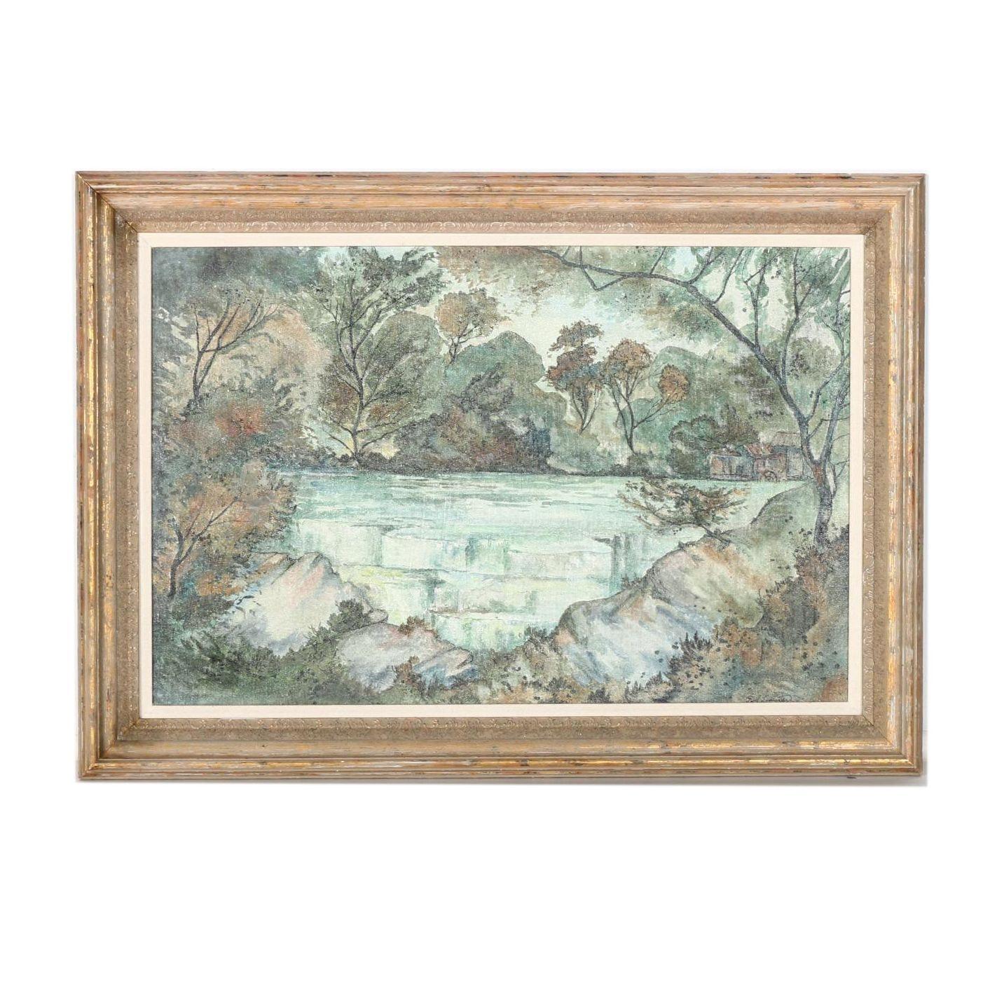 Paul Lancaster Signed Original Oil on Canvas Board of a Landscape