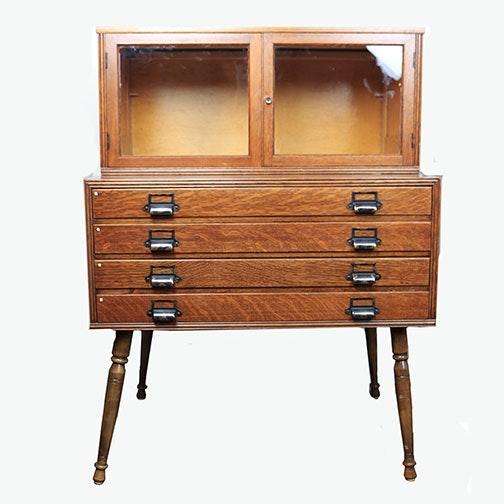 Vintage Oak Specimen Cabinet