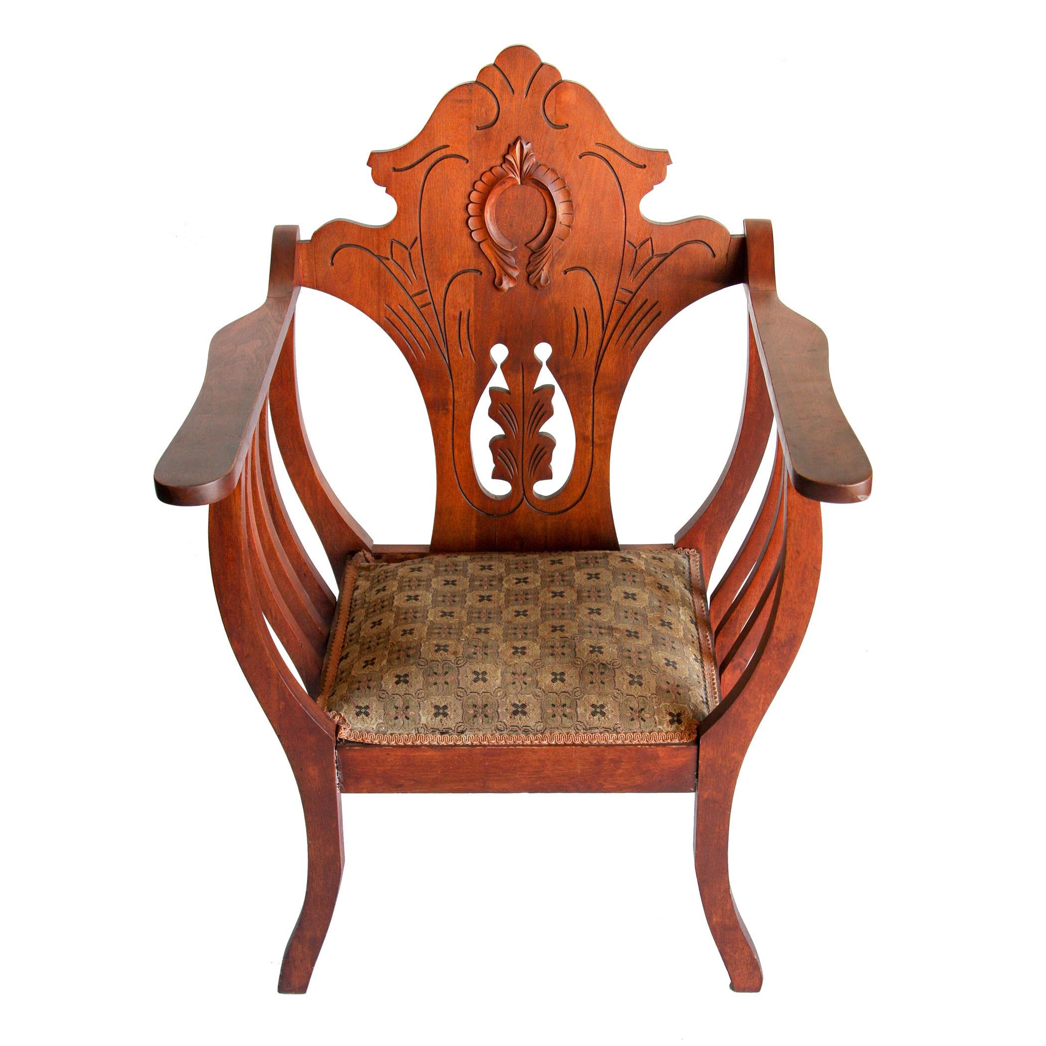 Antique Walnut Armchair Which Resembles a Savonarola Chair