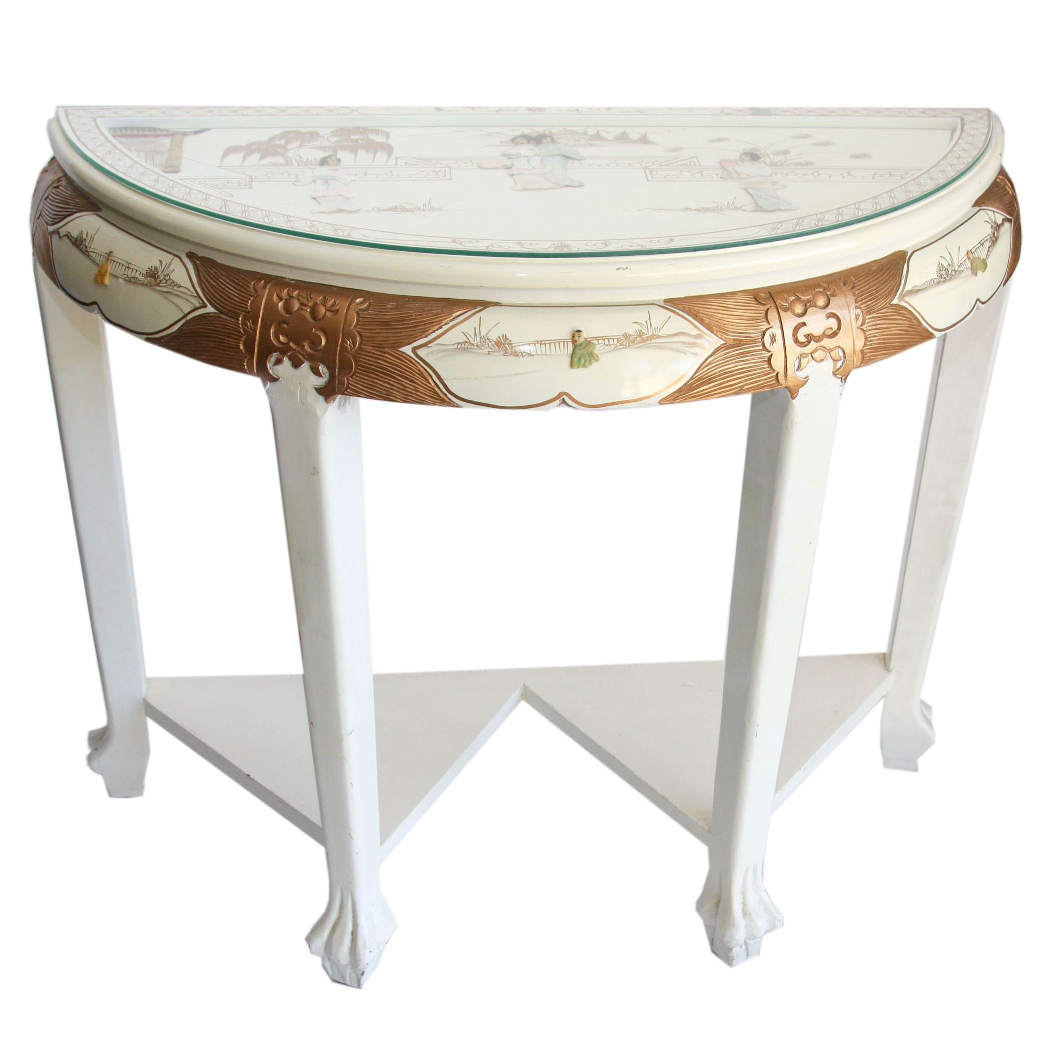 Chinese Inspired Painted Demilune Table