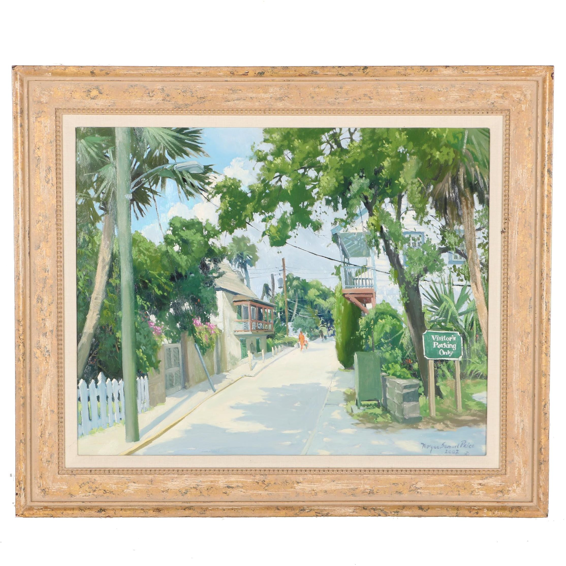 """Morgan Samuel Price 2002 Oil on Panel """"Looking Towards the Pellicer House on St. Francis"""""""