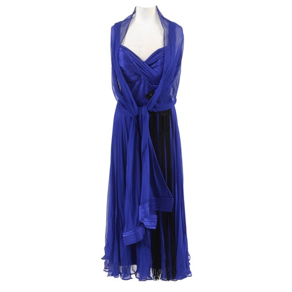 "Hilary Floyd Royal Blue Embellished Dress and Matching Shawl from ""Dancing for the Stars"""