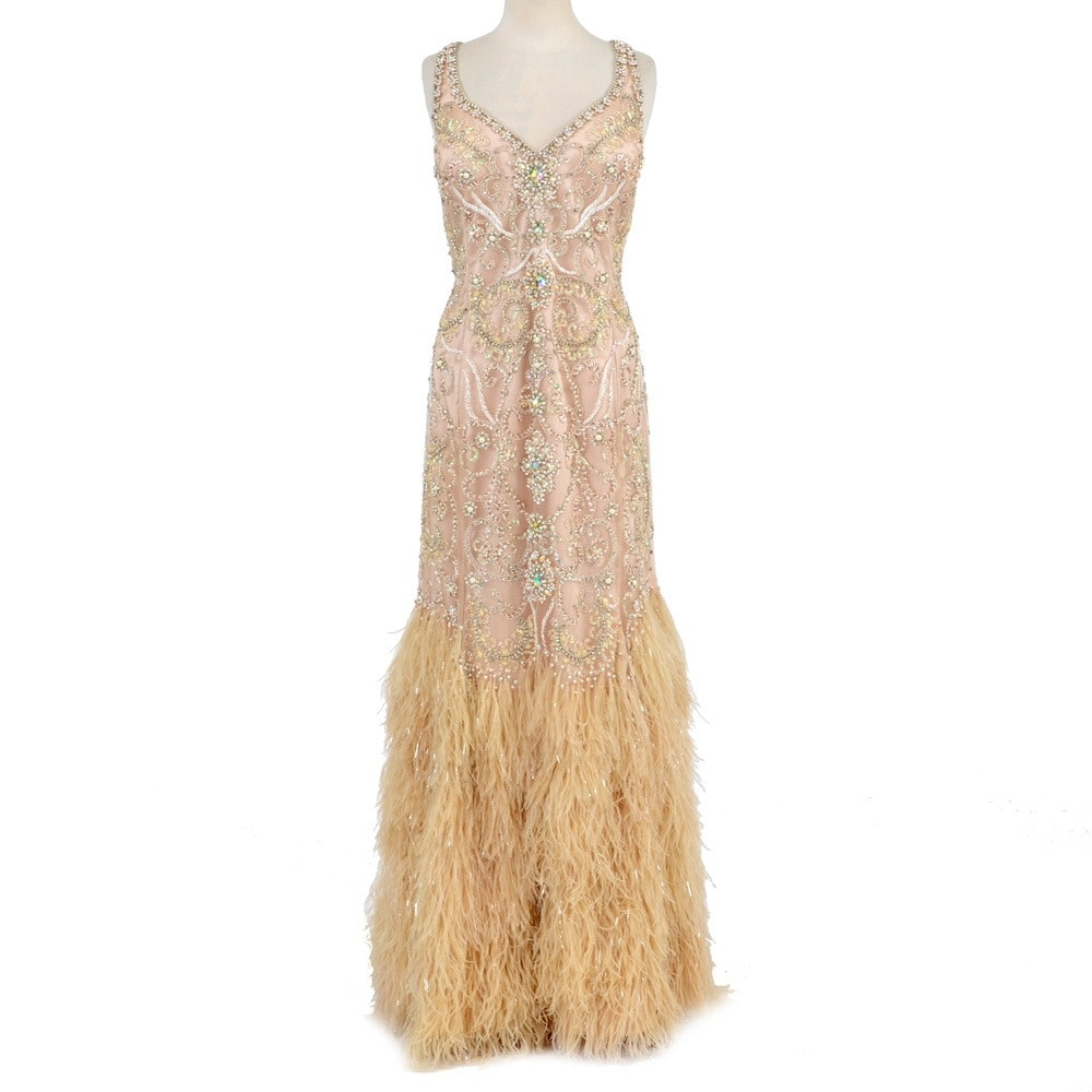 Terani Couture Beaded Gown with Ostrich Feathers