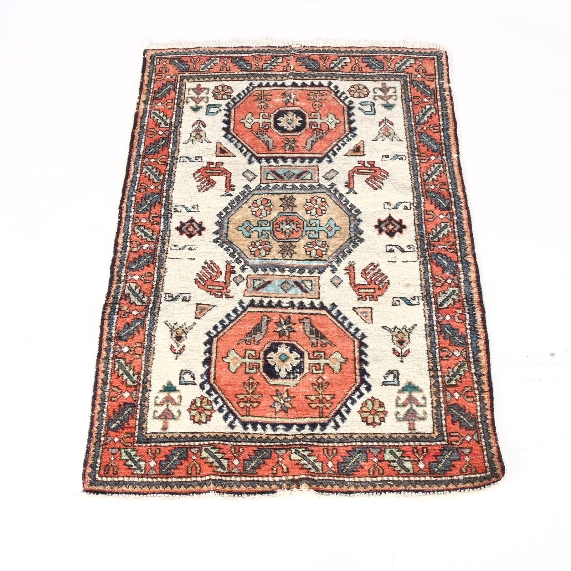 Hand-Knotted Caucasian Shirvan Accent Rug