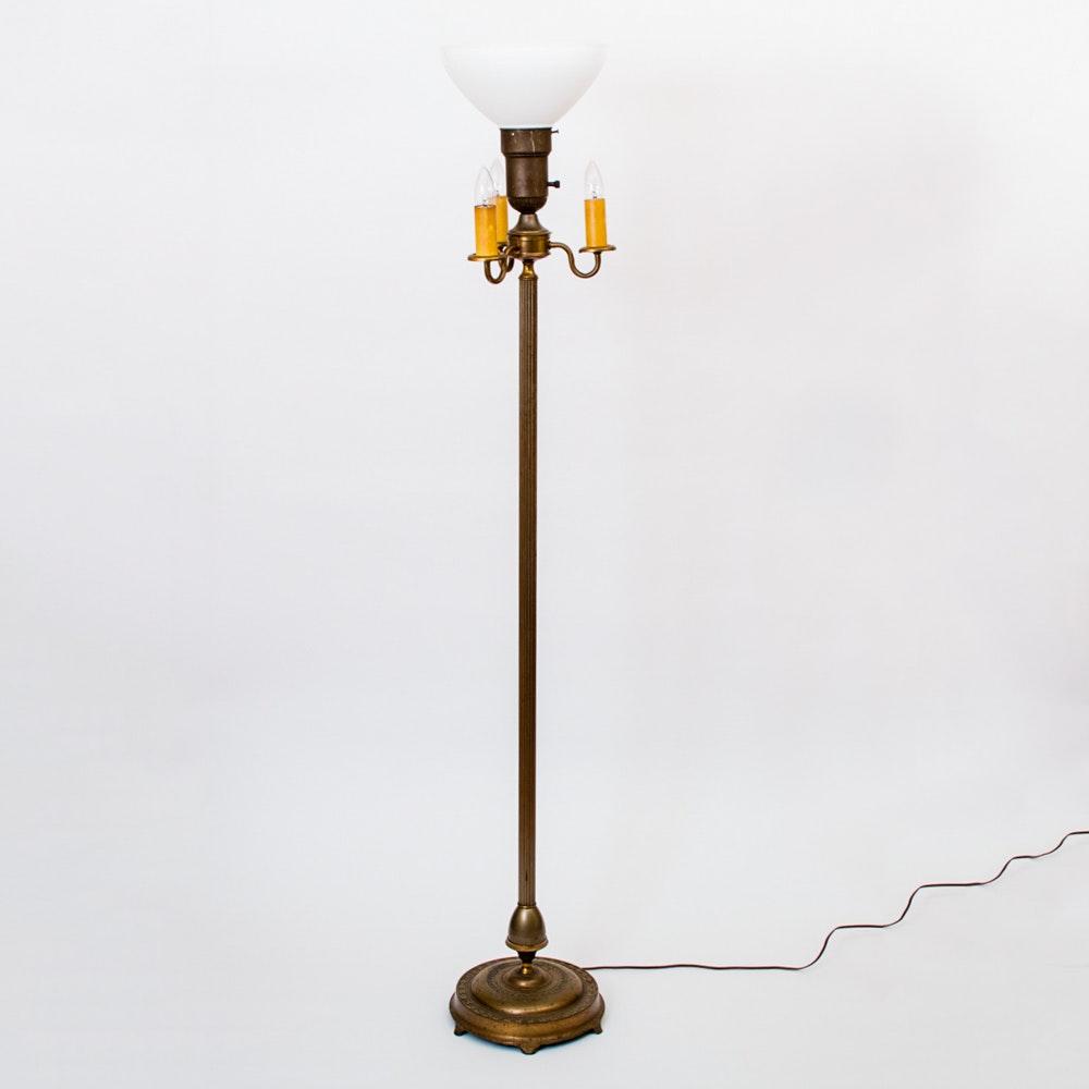 Vintage Brass Ram Head Hand Painted Relief Floor Lamp With