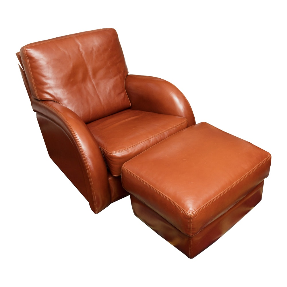 Contemporary Roche Bobois Leather Lounge Chair and Ottoman