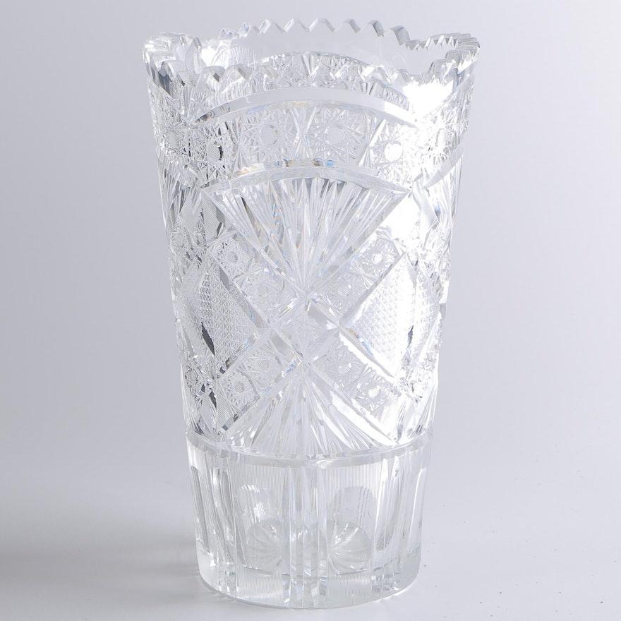 Fan And Starburst Pattern Cut Glass Vase Ebth