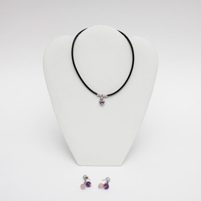 Judith Ripka Sterling Silver Amethyst Heart Necklace and Italy Earrings